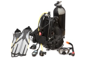 Diving equipment on white background
